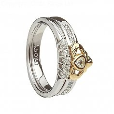10K and Silver Claddagh Ring with Matching Band