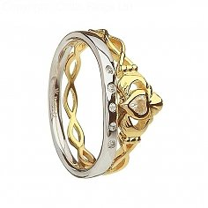 Claddagh Twisted Ring and Matching Band - Silver and 10K Gold