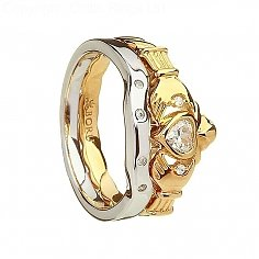Heavy Claddagh Ring with Matching Band - Silver and 10K Gold