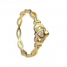 Infinity Knot Claddagh Ring with CZ - Yellow Gold