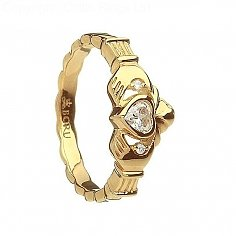 Claddagh Rope Band with CZs - Yellow Gold