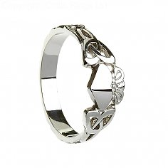 Womens Claddagh Ring with Trinity Knots - Silver