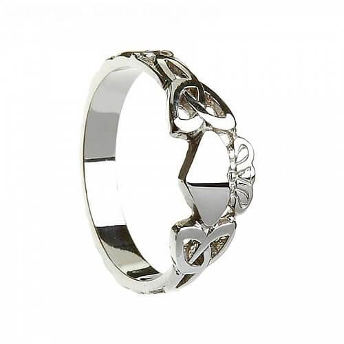 Damen Claddagh Ring mit Trinity Knoten - Silber