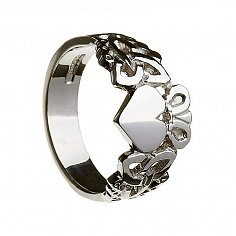 Mens Claddagh Ring with Trinity Knots - Silver