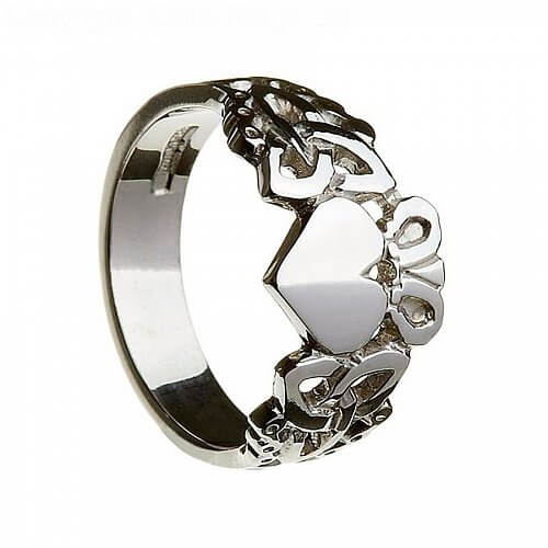 Men's Claddagh Ring with Trinity Knots