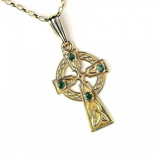 Small Celtic Cross with 4 Emeralds - Yellow Gold