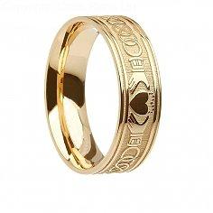 Mens Gold Irish Claddagh Ring