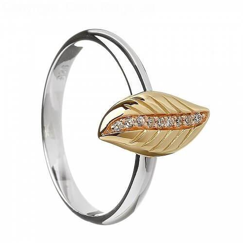 Silber- und Roségold irischer Blatt Ring