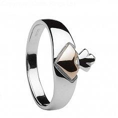 Silber- und Roségold-Claddagh-Ring