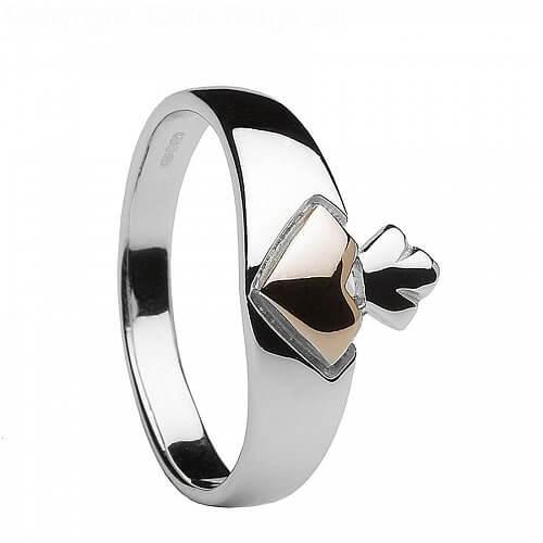silber und ros gold claddagh ring celtic rings ltd. Black Bedroom Furniture Sets. Home Design Ideas