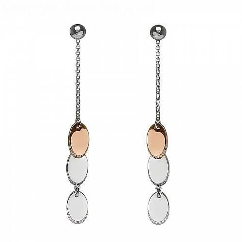 Oval Disc Drop Earrings