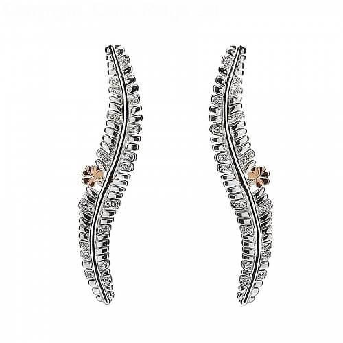 Silber und Roségold Fern-Ohrringe