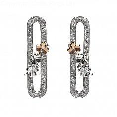 Silberne Kleeblatt Ohrringe mit CZ
