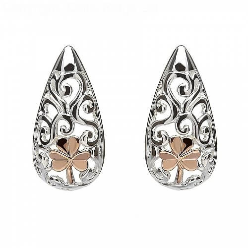 Celtic Shamrock Stud Earrings