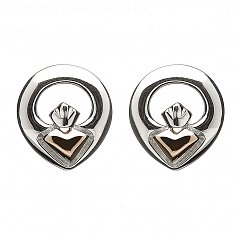 Irish Claddagh Stud Earrings