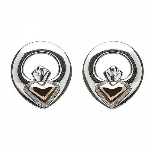 Irish Claddagh Stud Earrings