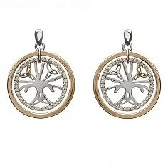 Silver Tree of Life CZ Earrings