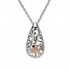 Silver Celtic Knot Shamrock Pendant