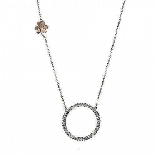 CZ-Kreis Halskette mit Kleeblatt