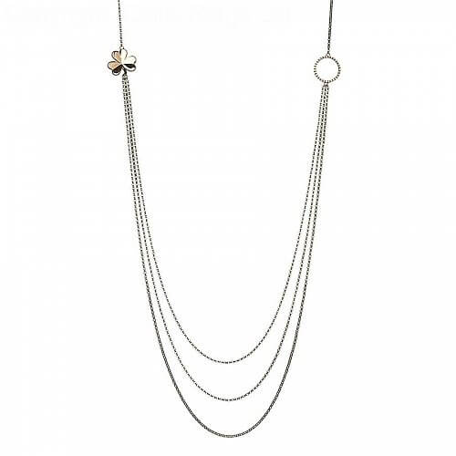 Drei-Strang-Kleeblatt-Halskette