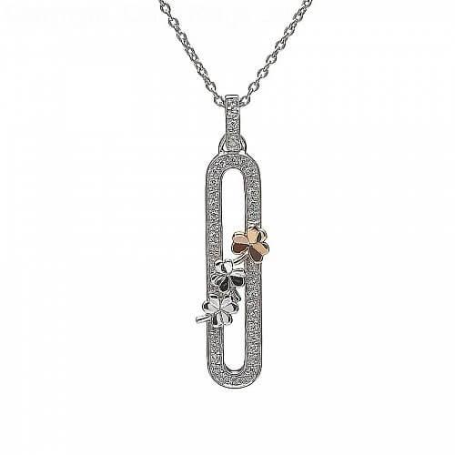 Silver Shamrock CZ Pendant