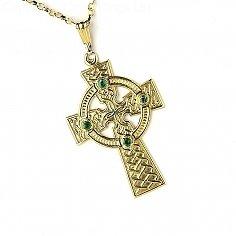Großes keltisches Kreuz mit 4 Smaragden - gelbes Gold