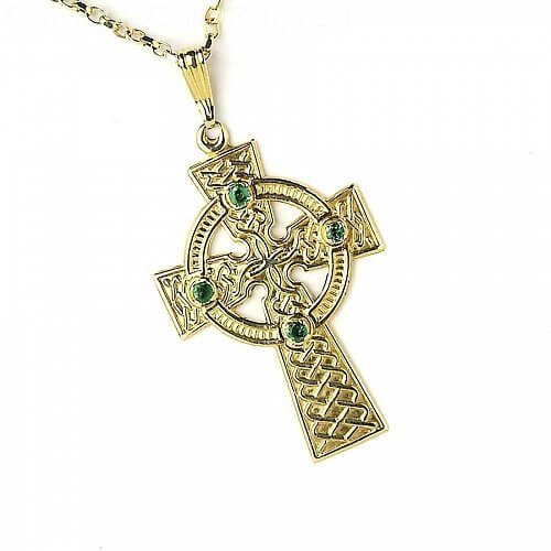 Large Celtic Cross with 4 Emeralds - Yellow Gold
