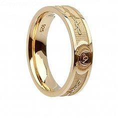 Damen Gold Barbed Trinity Ring