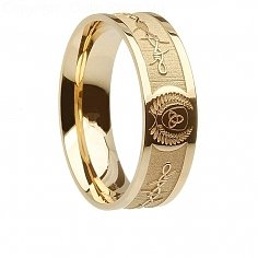Mens Gold Barbed Wire Trinity Ring