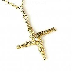 Heiliges Brigidskreuz mit Diamant - Gelbes Gold