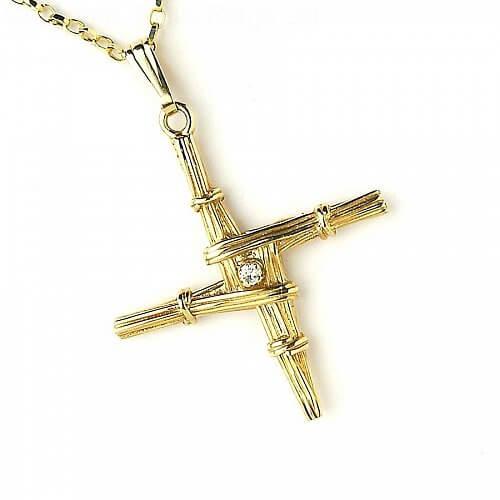 Saint Brigid's Cross with Diamond - Yellow Gold