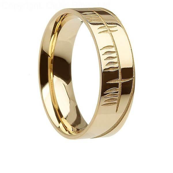 Men's Gold Wedding Ring With Ogham Inscription