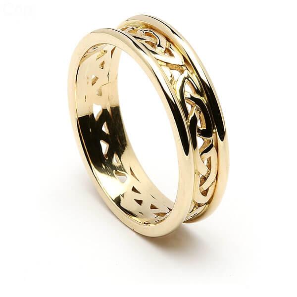 bande de mariage paisse noeud celtique or 14k avec bordure en or blanc. Black Bedroom Furniture Sets. Home Design Ideas
