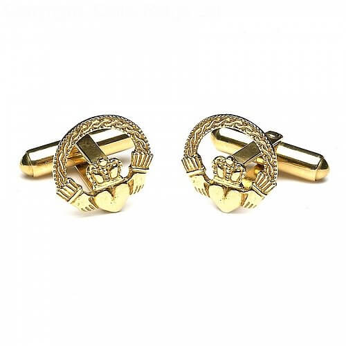 Engraved Claddagh Cuff Links - Yellow Gold