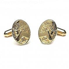 Oval heraldische Manschettenknöpfe - Gelbgold
