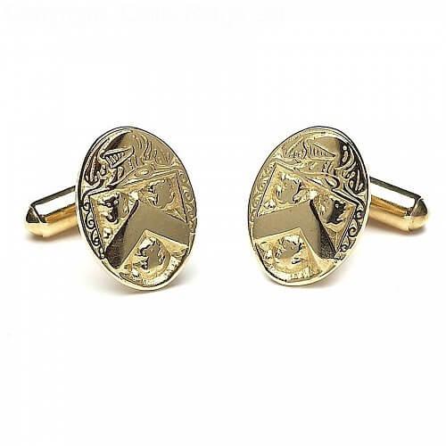Oval Heraldic Cuff Links - Yellow Gold