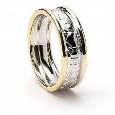 Women's Court Shaped Claddagh Wedding Band - White Gold with Yellow Trim