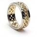 Herren-durchstochen keltischen Knoten Ring mit trim - gelb mit weißem Gold trim