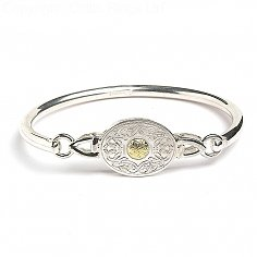 Oval Celtic Warrior Bangle 18K Bead