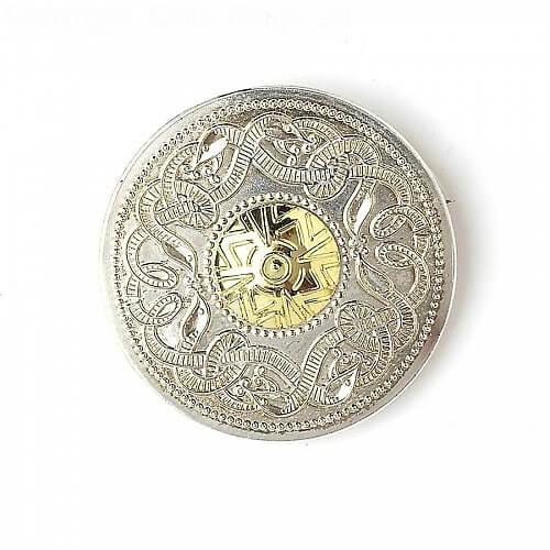 Celtic Warrior Brooch 18k Bead
