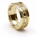 Femmes anneau de mariage Claddagh en relief - Tout en or jaune