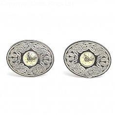 Oval Guerrier Celte Cufflinks 18k Perle