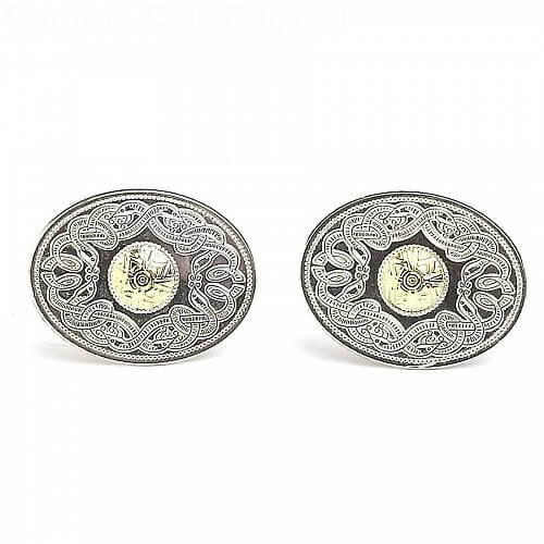 Oval Celtic Warrior Cufflinks 18k Bead