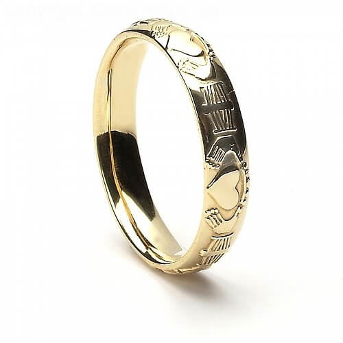 Women's Court Shaped Claddagh Wedding Ring - Yellow Gold