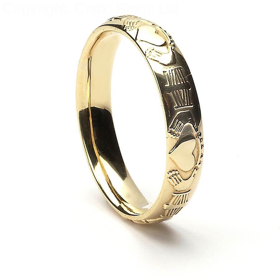 claddagh court wedding ring - silver/10k/14k gold
