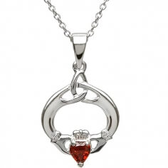 Claddagh Pendant with January Birthstone - Silver