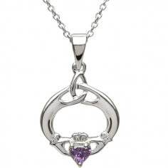 Claddagh Pendant with February Birthstone - Silver
