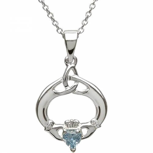 Claddagh Pendant with March Birthstone - Silver