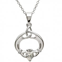 Claddagh Pendant with April Birthstone - Silver