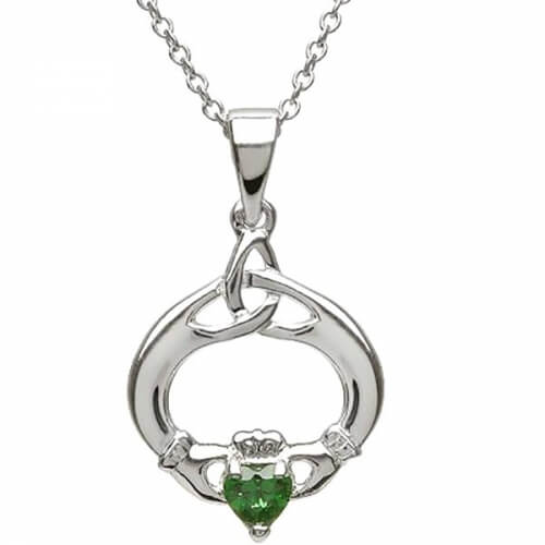 Claddagh Pendant with May Birthstone - Silver
